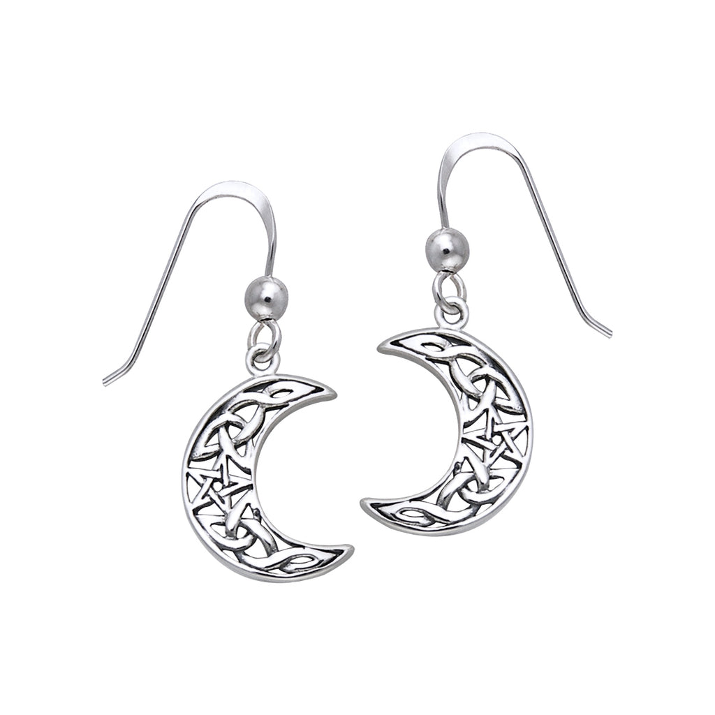 Jewelry Trends Sterling Silver Celtic Crescent Moon and Star Dangle Earrings