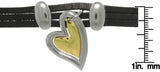 Jewelry Trends Two Tone Polished Metal Heart Charm on Leather Bracelet