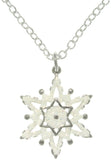 Jewelry Trends Pewter White Enamel Glittering Snowflake Charm with 18 Inch Chain Necklace