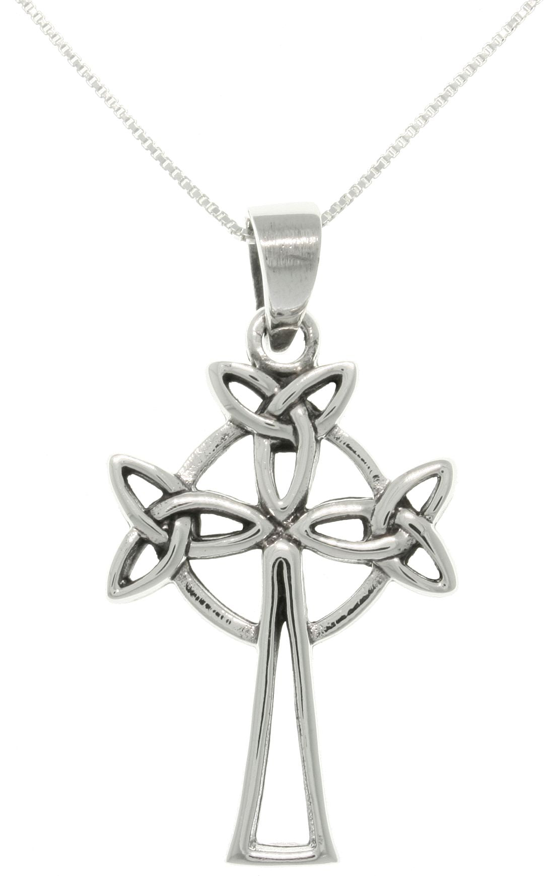 Jewelry Trends Sterling Silver Trinity Knot Celtic Cross Pendant with 18 Inch Chain Necklace Religious Jewelry