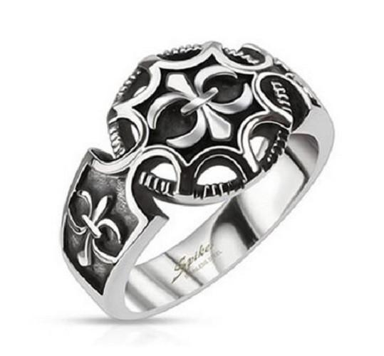 Jewelry Trends Stainless Steel Ring with Fleur De Lis Round Shield Whole Sizes 9 - 11 - 9