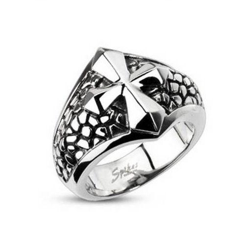 Jewelry Trends Stainless Steel Band Ring with Raised Cross On Snake Skin Print Whole Sizes 9 - 13 - 9