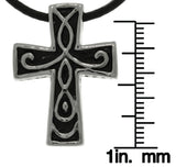 Jewelry Trends Stainless Steel Celtic Cross Pendant with Internal Bail on Leather Necklace