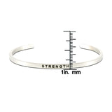 Jewelry Trends Stainless Steel STRENGTH Message Bangle Stacking Bracelet