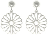 Jewelry Trends Sterling Silver Open Daisy Dangle Earrings