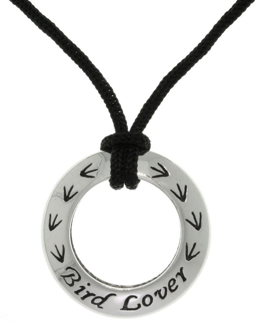 Jewelry Trends Sterling Silver Bird Lover Ring Pendant with Black Cord Necklace