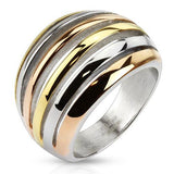 Jewelry Trends Stainless Steel Ring with Rose Gold-tone, Gold-tone, Silver-tone Cut Out Stripes Whole Sizes 6 - 10 - 6