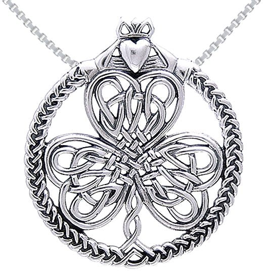 Jewelry Trends Sterling Silver Celtic Claddagh Heart in Hands Clover Pendant on Chain Necklace Irish Jewelry