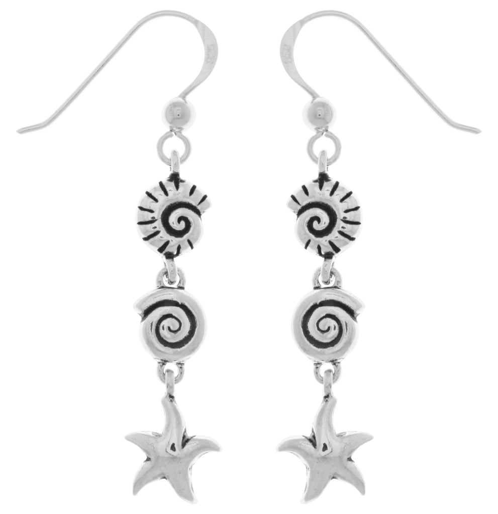 Jewelry Trends Sterling Silver Seashell and Starfish Long Dangle Earrings