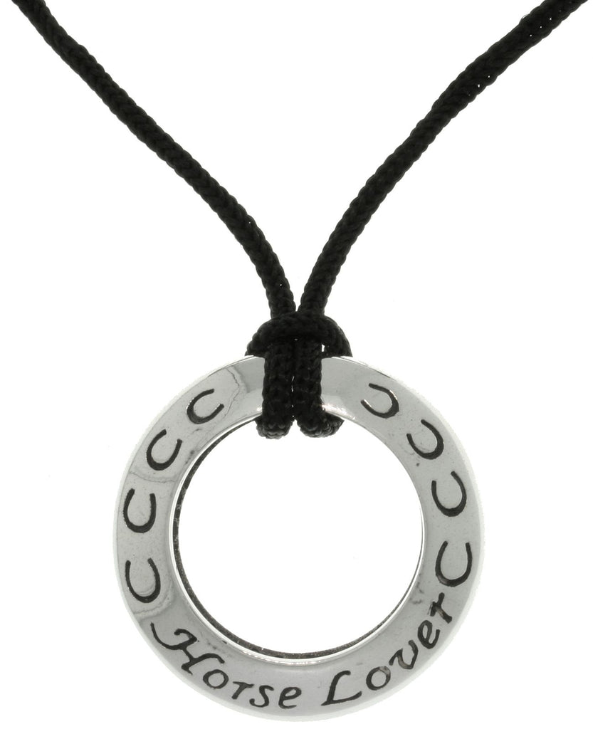 Jewelry Trends Sterling Silver Horse Lover Ring Pendant on Black Cord Necklace
