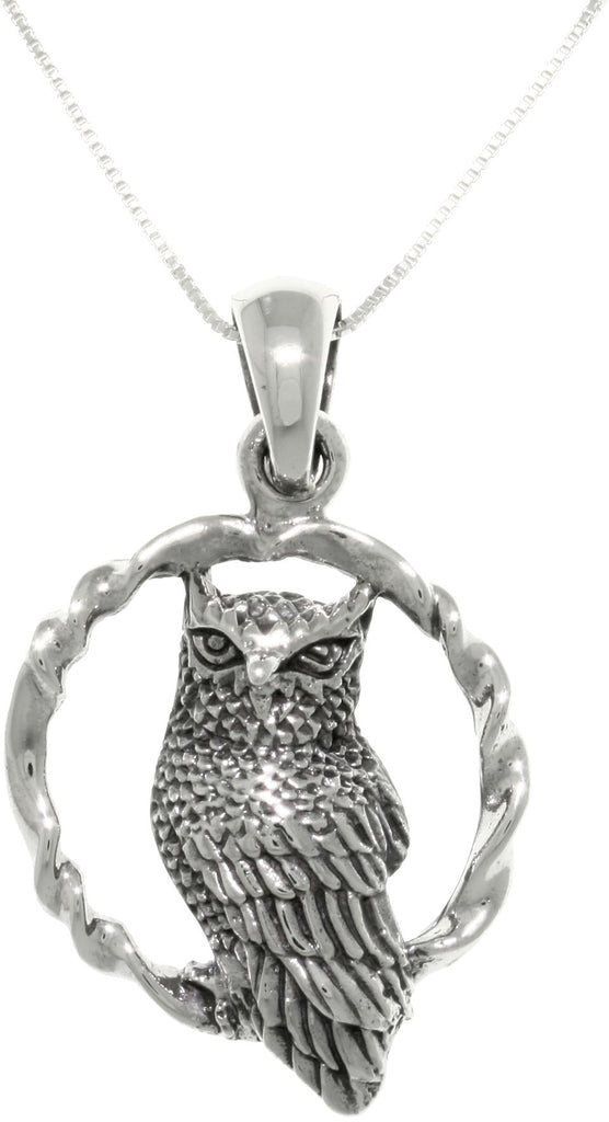 Jewelry Trends Sterling Silver Wise Owl on Round Swing Pendant with 18 Inch Box Chain Necklace