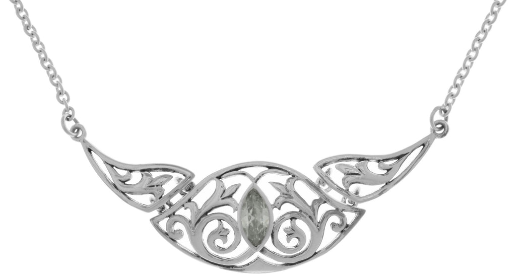 Jewelry Trends Silver Plated Bronze Triple Celtic Floral Knotwork Pendant with CZ on Link Chain Necklace