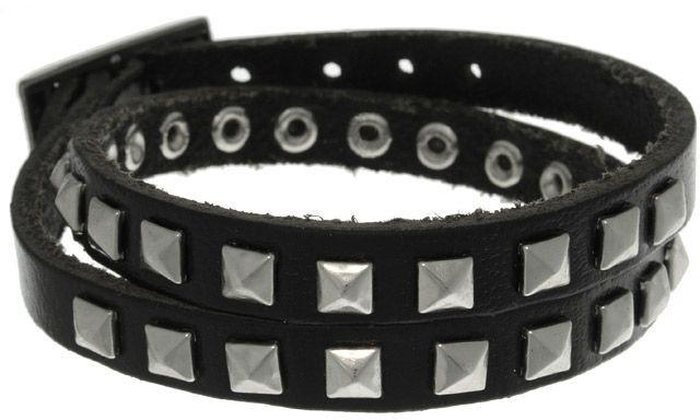 Jewelry Trends Black Leather and Stainless Steel Pyramid Stud Wrap Bracelet