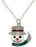 Jewelry Trends Pewter Enamel Frosted Snowman Charm with 18 Inch Chain Necklace
