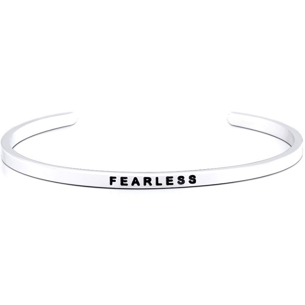 Jewelry Trends Stainless Steel FEARLESS Message Bangle Stacking Bracelet