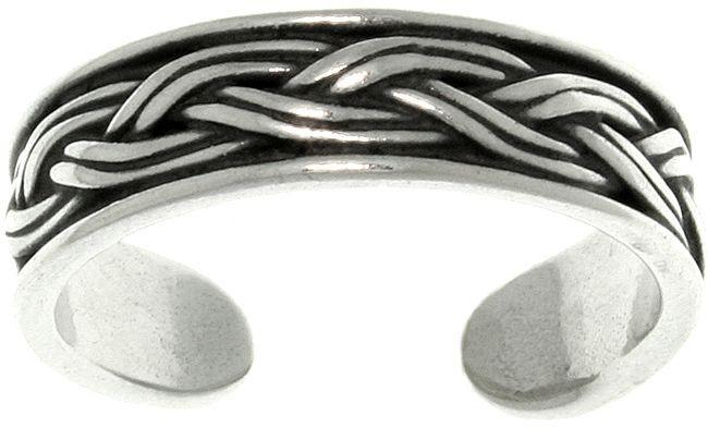 Jewelry Trends Weave Celtic Rope Design Adjustable Sterling Silver Toe Ring
