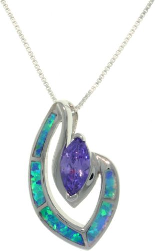 "Jewelry Trends Sterling Silver Created Opal and Amethyst Purple CZ Marquise Pendant with 18"" Box Chain Necklace"