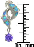 Jewelry Trends Sterling Silver Created Blue Opal and Purple Cubic Zirconia Double Dolphin Drop Earrings