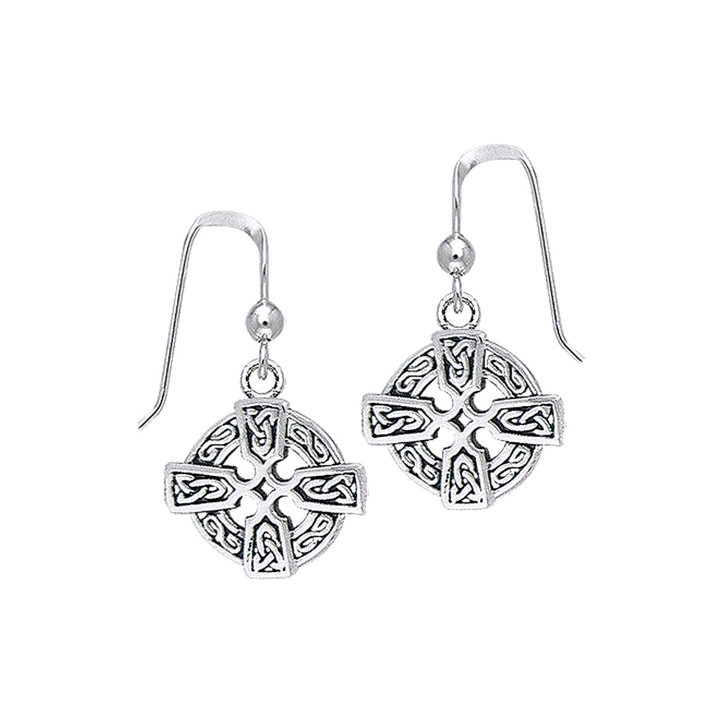 Jewelry Trends Sterling Silver Celtic Knotwork Cross Dangle Earrings