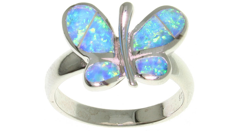 Jewelry Trends Created Opal Butterfly Sterling Silver Ring - 8