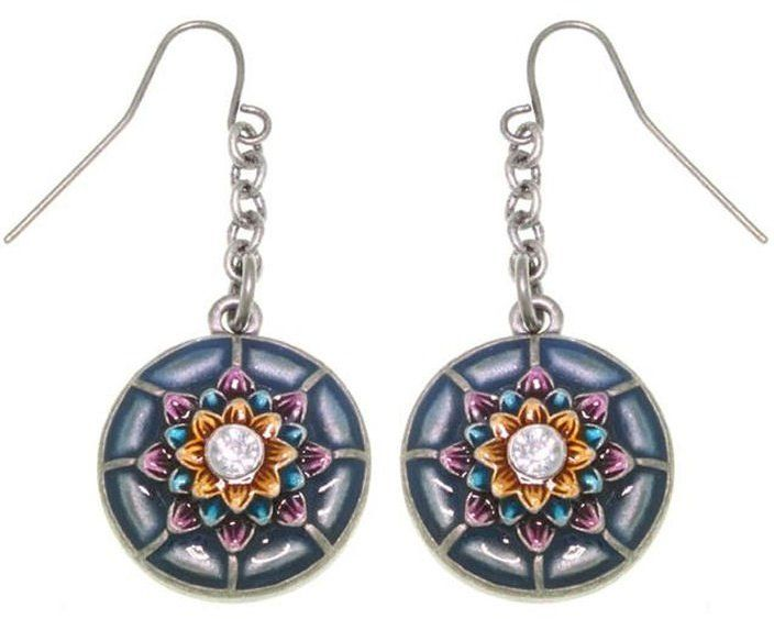 Jewelry Trends Pewter Round Dream Flower Earrings