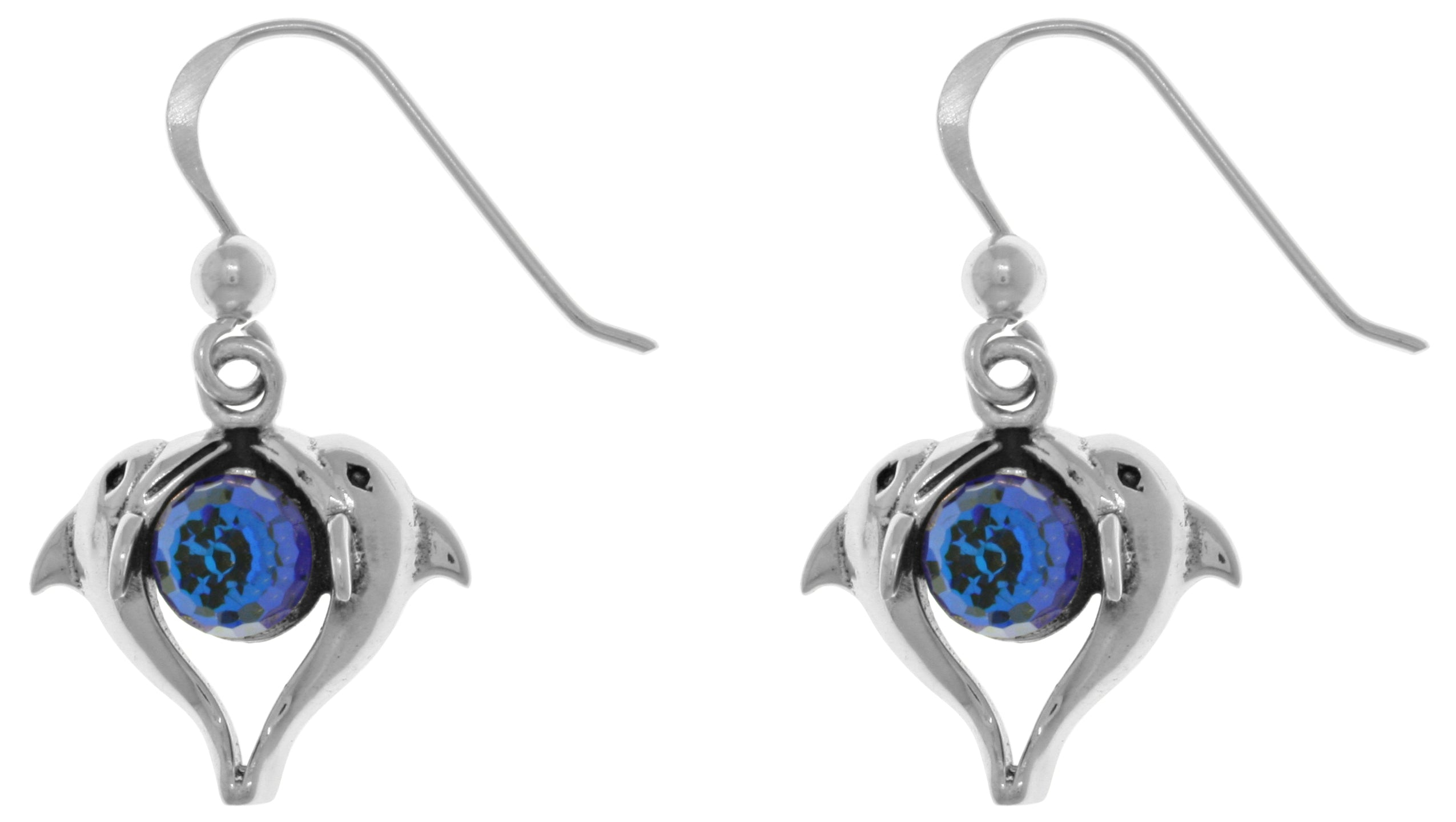 Jewelry Trends Sterling Silver Double Love Dolphins Earrings with Bermuda Blue Crystals