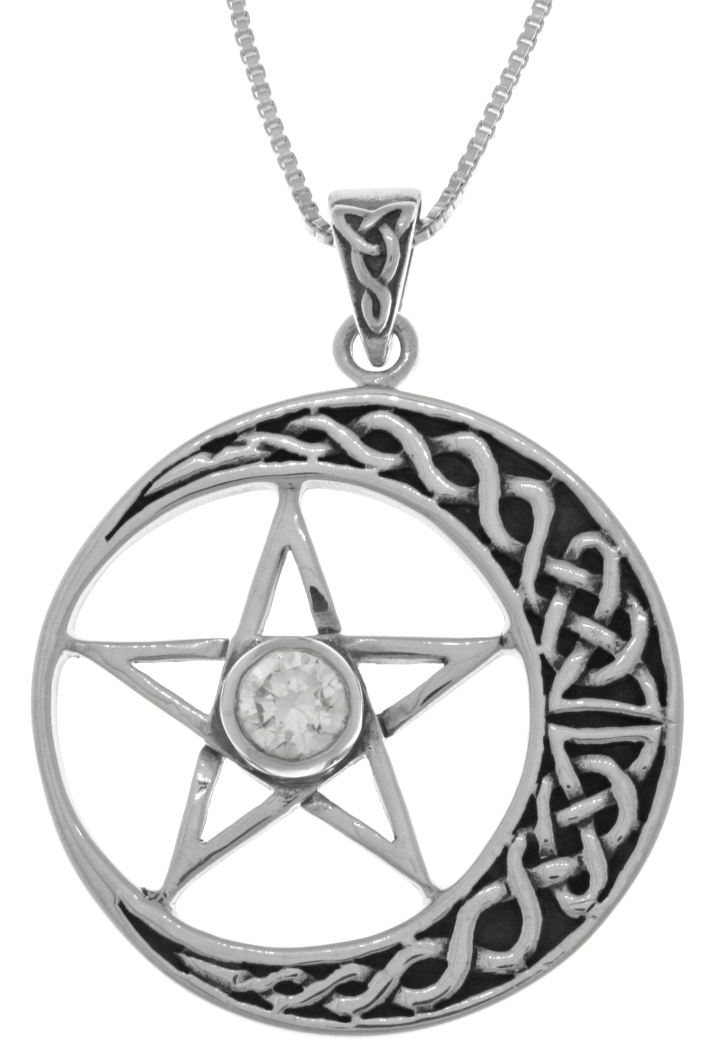 Jewelry Trends Sterling Silver Celtic Moon and Star Pentacle Pendant with CZ on 18 Inch Box Chain Necklace