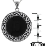 Jewelry Trends Sterling Silver and Black Onyx Celtic Knotwork Pendant on 18 Inch Box Chain Necklace