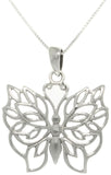 "Jewelry Trends Sterling Silver Natural Love Butterfly Pendant on 18"" Necklace"
