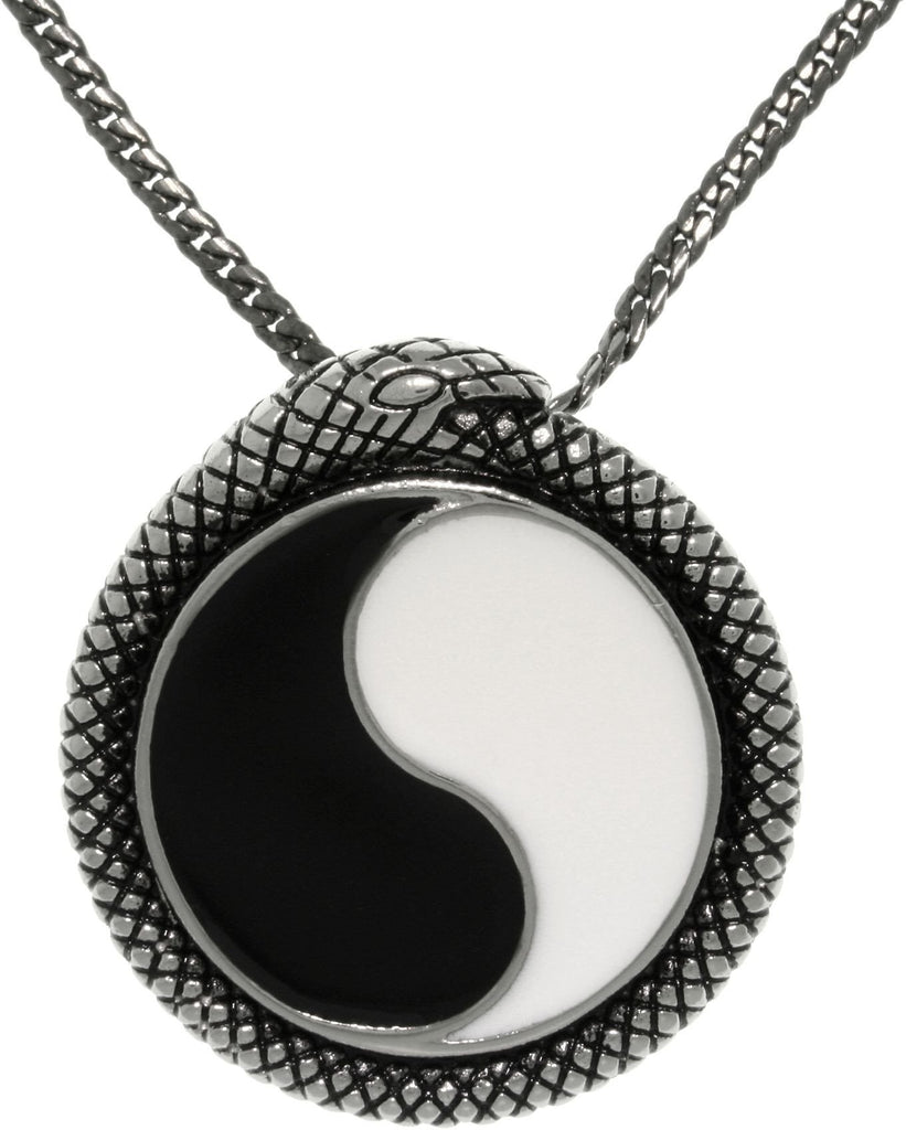 Jewelry Trends Stainless Steel Yin Yang Pendant with Snake Wrap Border On 24 Inch Gunmetal Snake Chain Necklace