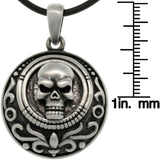 Jewelry Trends Pewter Unisex Skull Medallion Pendant with 24 Inch Rubber Cord Necklace