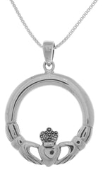 Jewelry Trends Sterling Silver Celtic Claddagh Large Round Pendant on 18 Inch Box Chain Necklace