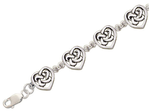 Jewelry Trends Sterling Silver Celtic Eternal Love Hearts Knotwork Link Bracelet