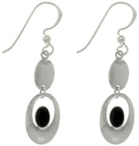Jewelry Trends Sterling Silver Black Colored Resin Drop Earrings