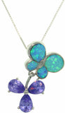 Jewelry Trends Sterling Silver Created Blue Opal Butterfly and Flower Pendant with Amethyst Purple CZ on 18 Inch Box Chain Necklace