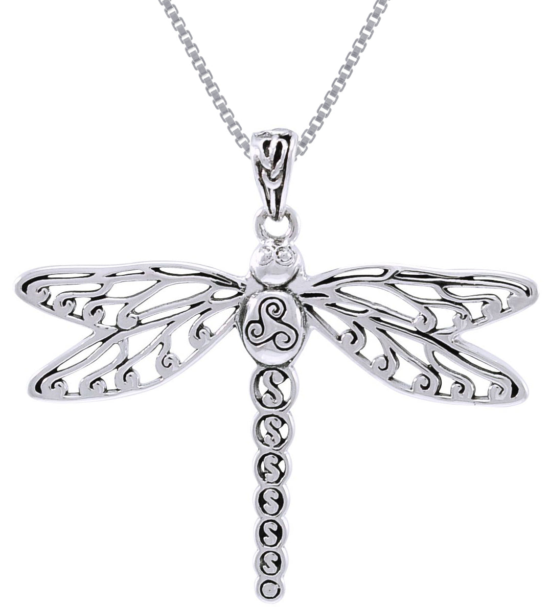 Jewelry trends sterling silver celtic triskele dragonfly pendant on jewelry trends sterling silver celtic triskele dragonfly pendant on 18 inch box chain necklace aloadofball Image collections