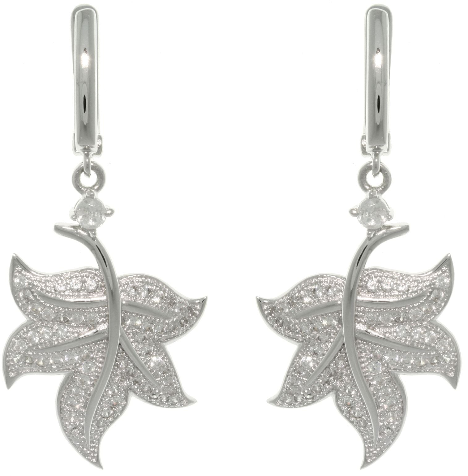 Jewelry Trends Sterling Silver Pave CZ Leaf Dangle Earrings