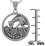 Jewelry Trends Sterling Silver Horse Grazing Scene Pendant on 18 Inch Box Chain Necklace