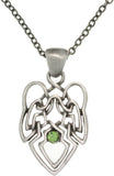 Jewelry Trends Pewter Green Crystal Rhinestone Celtic Knot Angel Pendant with 23 Inch Chain Necklace