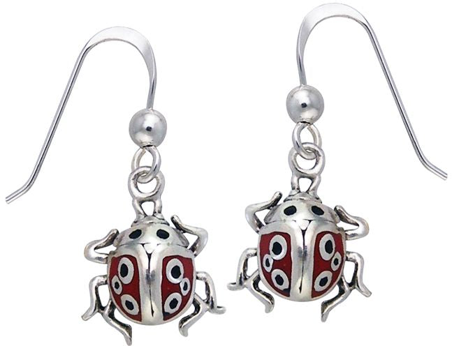 Jewelry Trends Sterling Silver Lucky Ladybug Beetle Enamel Dangle Earrings