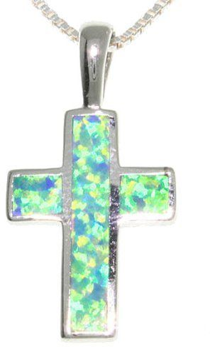 Jewelry Trends Sterling Silver Created Blue Opal Cross Pendant with 18 Inch Box Chain Necklace