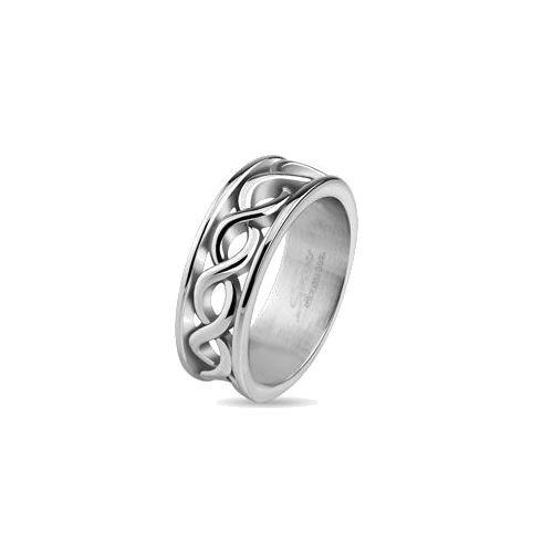 Jewelry Trends Stainless Steel Band Ring With Infinity Knot Symbols Whole Sizes 6 - 10 - 6