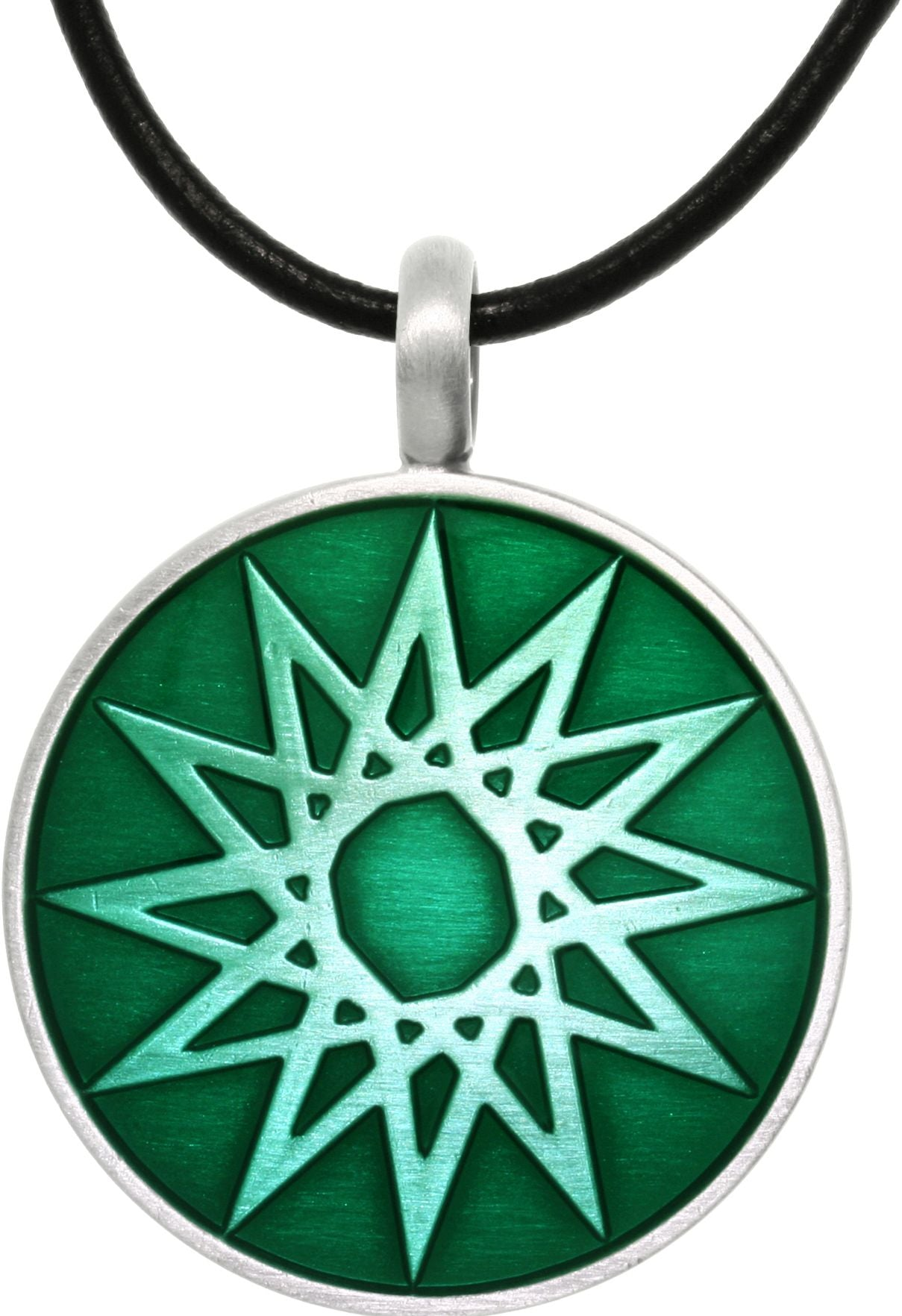 Jewelry Trends Pewter Magic Star Vibrant Green Round Celestial Success Pendant on Black Leather Cord Necklace