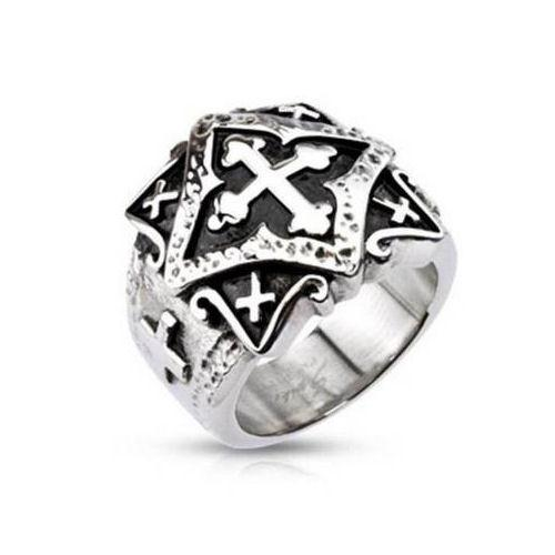 Jewelry Trends Stainless Steel Band Ring with Ornamental Gothic Cross Whole Sizes 6 - 13 - 6