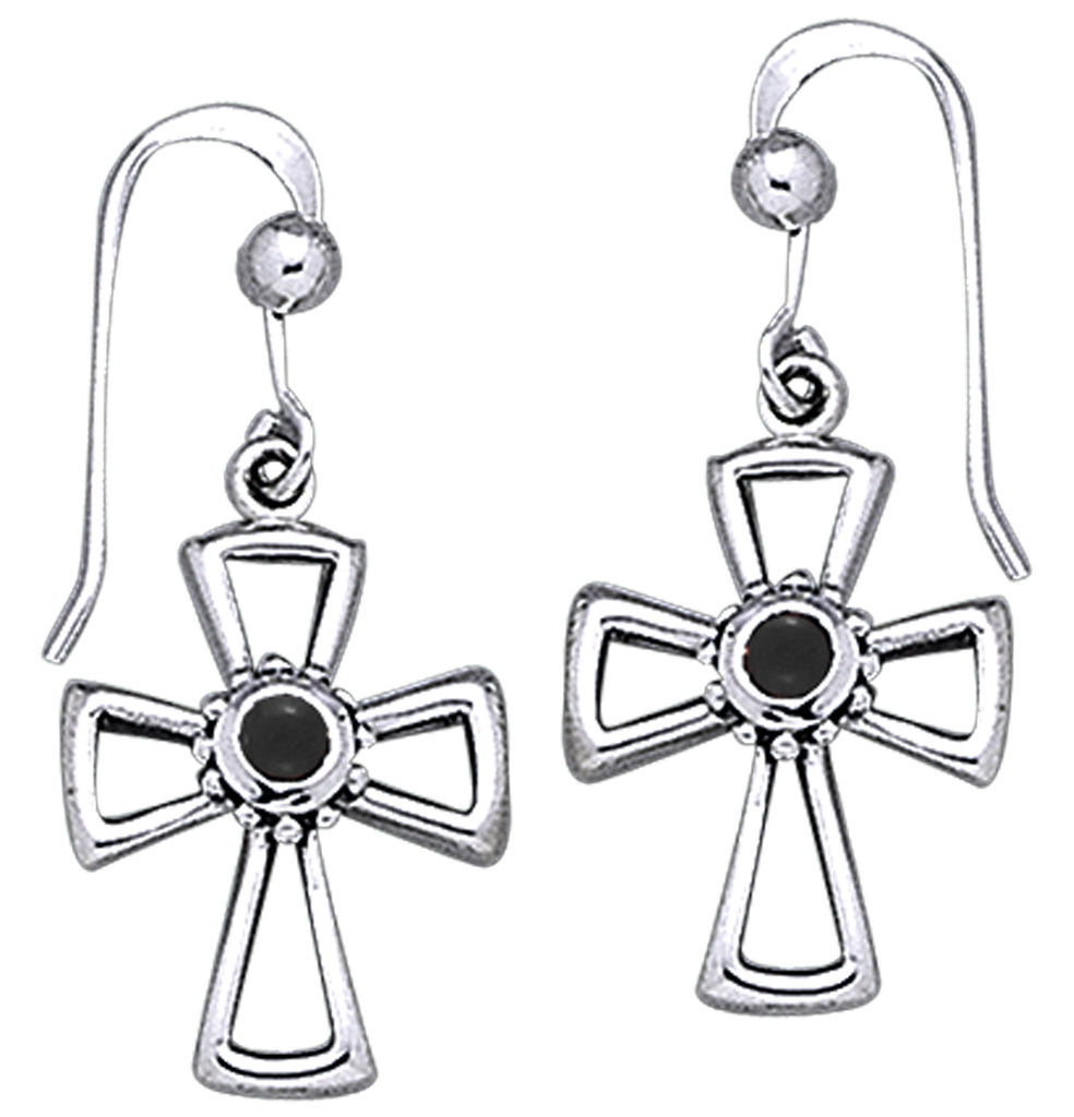 Jewelry Trends Sterling Silver and Black Onyx Celtic Cross Dangle Earrings