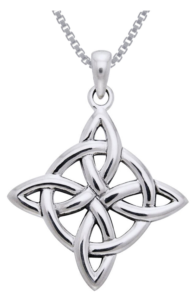 Jewelry Trends Sterling Silver Celtic Good Luck Knot Pendant on 18 Inch Box Chain Necklace