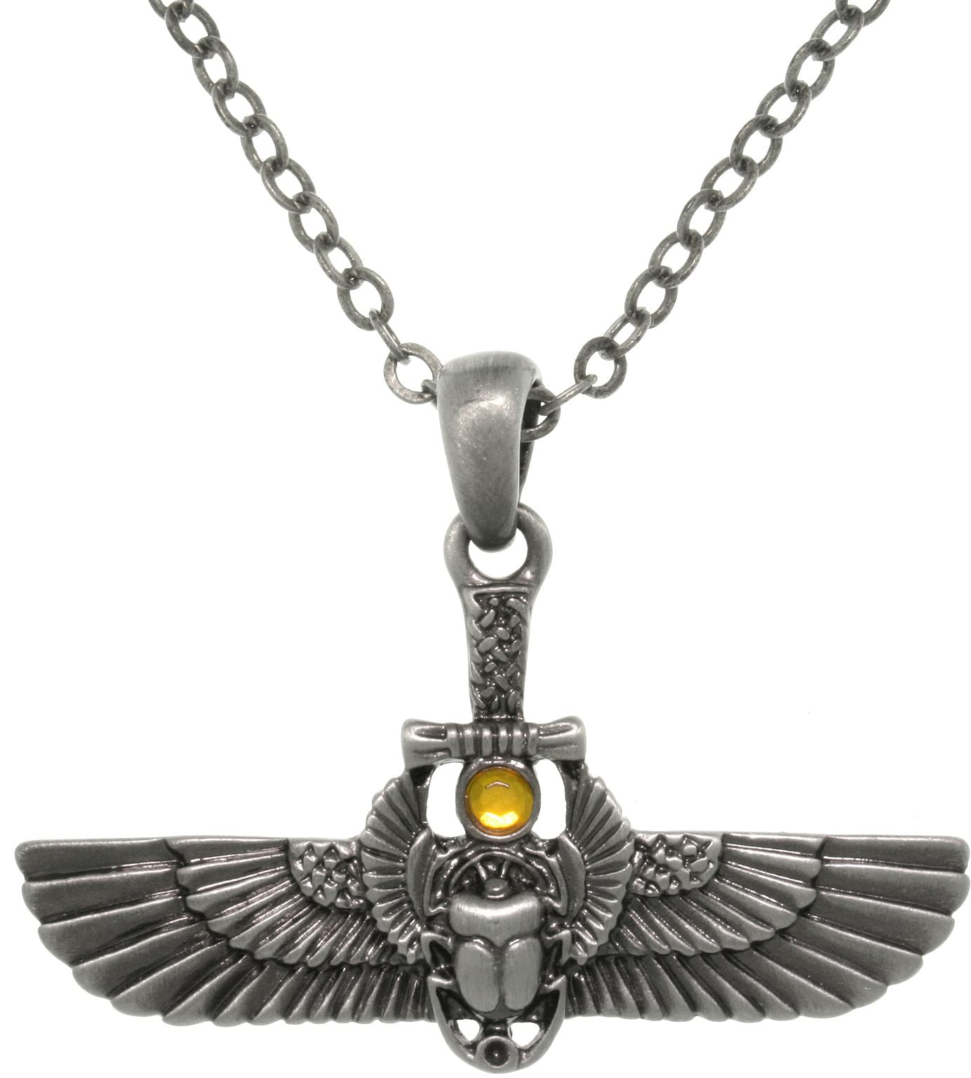 Jewelry Trends Pewter Alloy Egyptian Winged Scarab Pendant with 23 Inch Chain Necklace