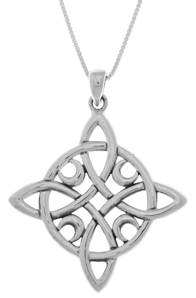Jewelry Trends Sterling Silver Celtic Quaternary Moon Luck Knot Pendant on 18 Inch Box Chain Necklace