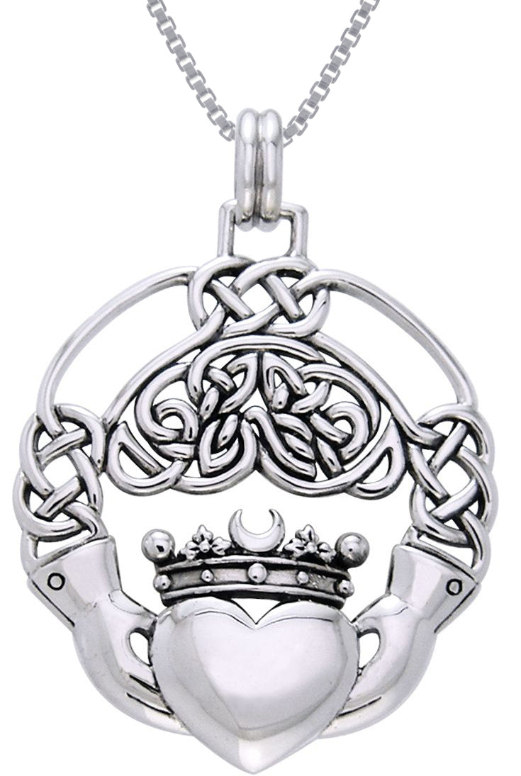Jewelry Trends Sterling Silver Celtic Claddagh Heart in Hands Pendant on 18 Inch Box Chain Necklace