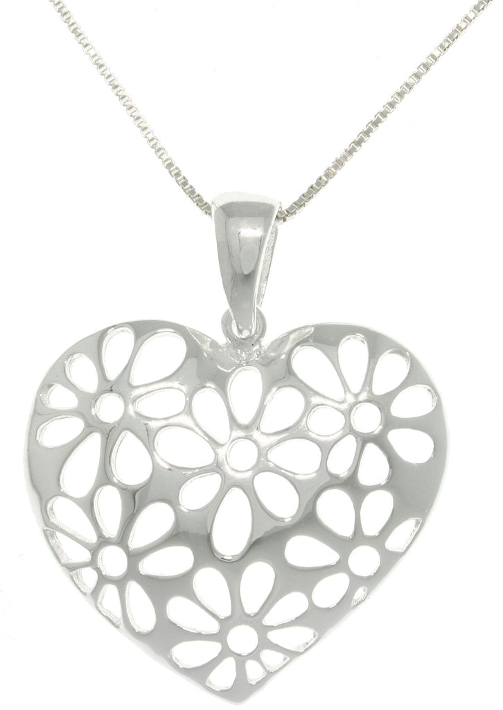 Jewelry Trends Sterling Silver Cut Out Daisy Flower Heart Pendant on Box Chain Necklace Gift
